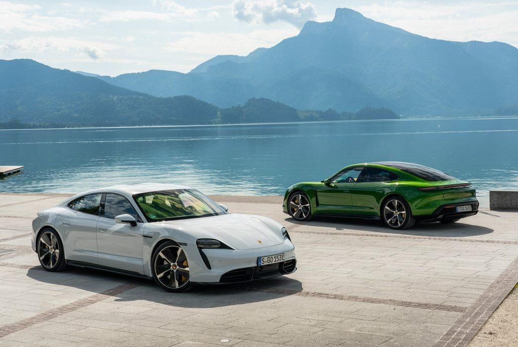 Porsche Taycan blanco y verde